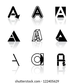 Alphabet Icon Symbol Collection Black and White Series Letter A