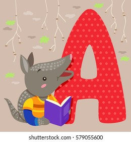 Alphabet Illustration Featuring an Armadillo Reading a Book Standing Beside a Tile of the Letter A