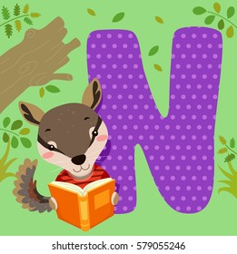 Alphabet Illustration Featuring a Numbat Reading a Book Sitting Beside a Tile of the Letter N