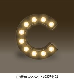Led strip lights stock illustrations images vectors shutterstock alphabet incandescent light bulb box set letter c illustration retro 3d style isolated glow in aloadofball Choice Image