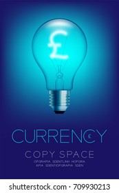 Alphabet Incandescent light bulb switch on set Currency GBP (Pound Sterling) symbol concept, illustration isolated glow in blue gradient background