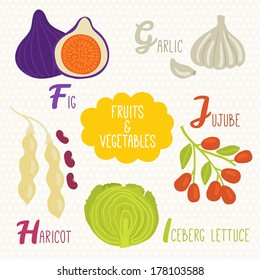 Alphabet for kids with fruits and vegetables. Letters F, G, H, I, J. Fig, Garlic, Jujube, Haricot, Iceberg lettuce.