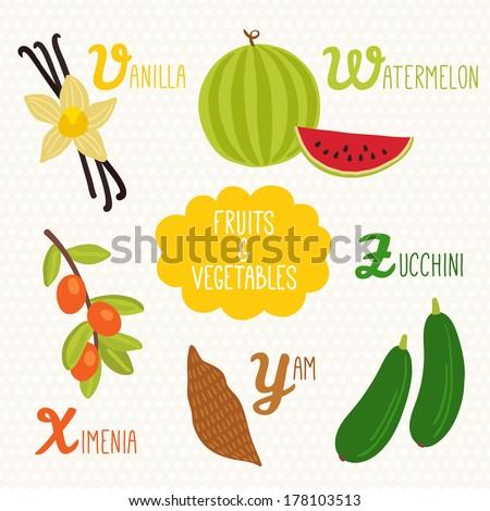 alphabet kids fruits vegetables letters v stock vector royalty free