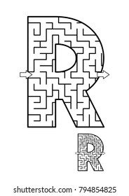 Alphabet  learning fun and educational activity for kids - letter R maze game. Answer included.