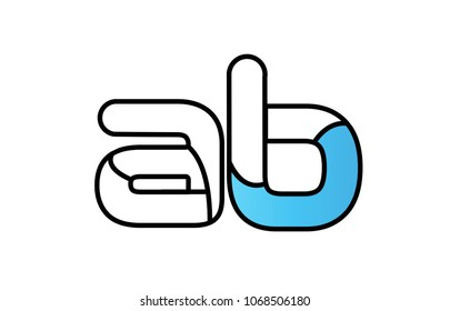 alphabet letter ab a b logo design with black border and blue color suitable for a company or business