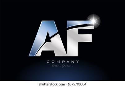 alphabet letter af a f logo design with metal blue color suitable for a company or business