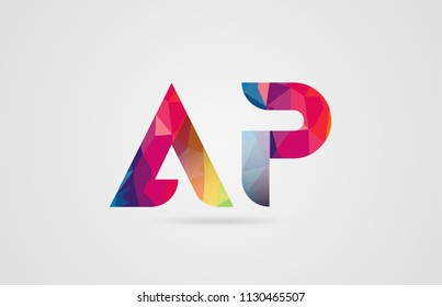 alphabet letter ap a p logo combination design with rainbow colors suitable for a company or business