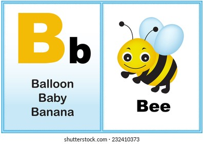 Alphabet letter B with clip-art and few similar words starting with the letter printable graphic for preschool / kindergarten kids