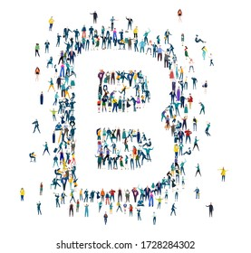 Alphabet. Letter B made of many little people, crowd creation. Lots of busy people in the letter shape.