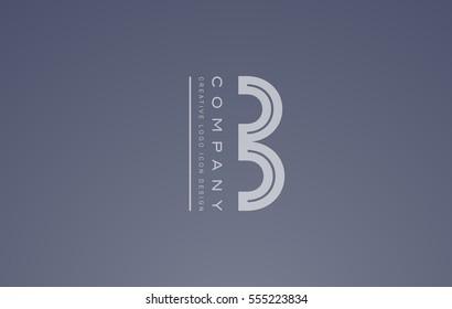 Alphabet letter B transparent white blue vector logo icon sign design template