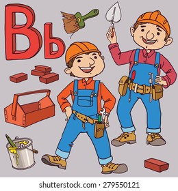 Alphabet. Letter B. VECTOR. Builders. Black and White. Back to School and Sport isolated objects. Great illustration for a school books and more. Editorial. Education. Advertising.