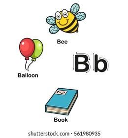 Alphabet Letter B-bee,balloon,book vector illustration