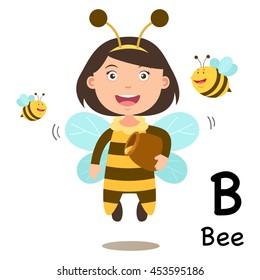 Alphabet Letter B-bee,vector illustration