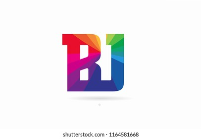 alphabet letter bj b j logo combination design with rainbow colors suitable for a company or business