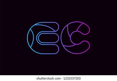 alphabet letter combination ec e c logo design blue and pink color suitable for a company or business
