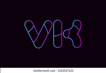 alphabet letter combination vk v k logo design blue and pink color suitable for a company or business