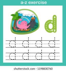 Alphabet Letter D-dinosaur exercise,paper cut concept vector illustration