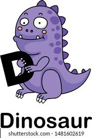 Alphabet Letter d-dinosaur vector illustration