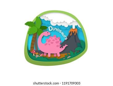 Alphabet Letter D-dinosaur,paper cut concept vector illustration