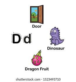 Alphabet Letter D-door,dragon fruit, dinosaur vector illustration