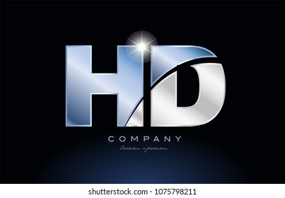 alphabet letter hd h d logo design with metal blue color suitable for a company or business