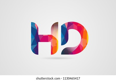 alphabet letter hd h d logo combination design with rainbow colors suitable for a company or business
