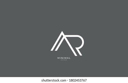 Alphabet letter icon logo AR