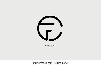 Alphabet letter icon logo CF or FC