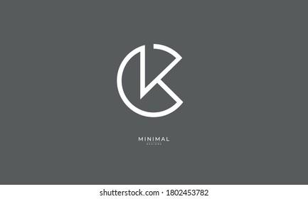 Alphabet letter icon logo CK or KC