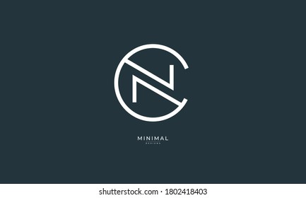 Alphabet letter icon logo CN or NC