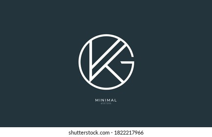 Alphabet letter icon logo GK or KG