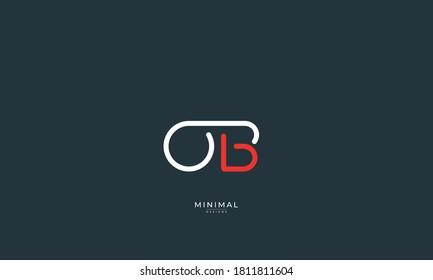 Alphabet letter icon logo OB