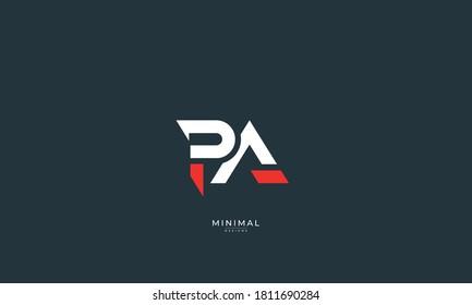 Alphabet letter icon logo PA