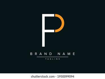 Alphabet letter icon logo PF or FP