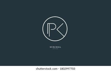Alphabet letter icon logo PK