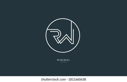 Alphabet letter icon logo RW