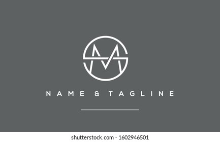 Alphabet Letter Icon Logo SM or MS