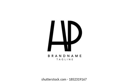 Alphabet letter Initial Monogram Logo HP, HP INITIAL, HP letter ,P and J