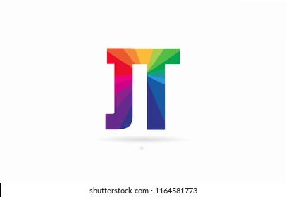 alphabet letter jt j t logo combination design with rainbow colors suitable for a company or business