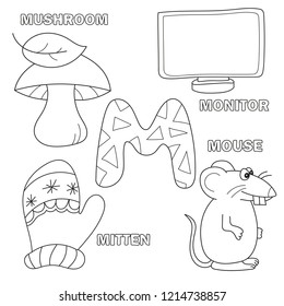 Alphabet letter with alphabet letters - M. pictures of the letter - coloring book for kids - monitor, mouse, mitten, mushroom