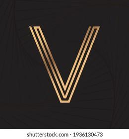 Alphabet letter line V. Golden line. Wave background. Luxury style. Vector illustration