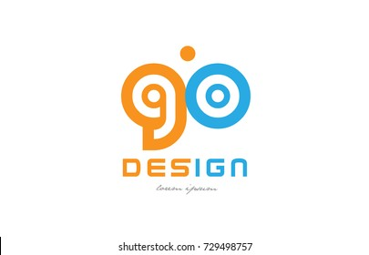 alphabet letter logo combination go g o in orange and blue suitable for a business or company
