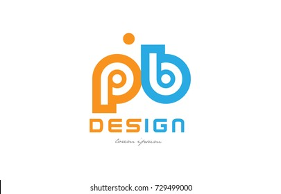 alphabet letter logo combination pb p b in orange and blue suitable for a business or company