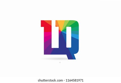 alphabet letter lq l q logo combination design with rainbow colors suitable for a company or business