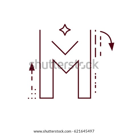 Alphabet Letter M Flat Style Thin Stock Vector Royalty Free