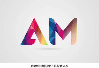 alphabet letter am a m logo combination design with rainbow colors suitable for a company or business