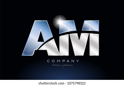 alphabet letter am a m logo design with metal blue color suitable for a company or business