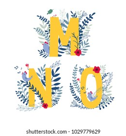 Alphabet,  letter m, n, o set  in floral design with flowers and plants. Vector colorful ABC element.