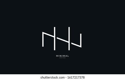 Alphabet letter monogram icon logo  NH or HN