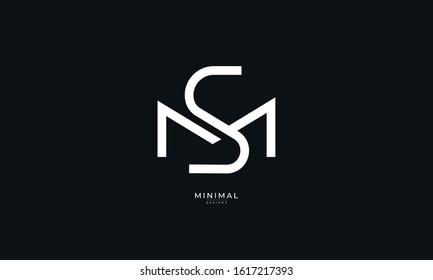 Alphabet letter monogram icon logo  MS or SM